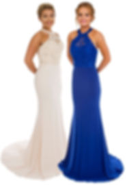 Lace Sparkle Halterneck Occasion Dress Sapphire Ivory