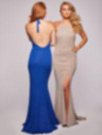 Backless Glitter Halterneck Prom Dress