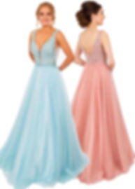 PF9668 Prom Frocks Ball Gown Blue Prom Dress Pink Beaded