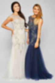 Beaded Tulle Lace Fishtail Prom Gown Navy Ivory