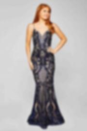 Navy Sequin Glam Gown Prom Blacktie Event Glasgow