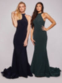 Halter Fitted Prom Dress With Loopy Train Navy Dark Green Yellow Ivory Pink Blue 2020