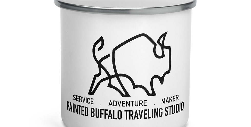Painted Buffalo Enamel Mug