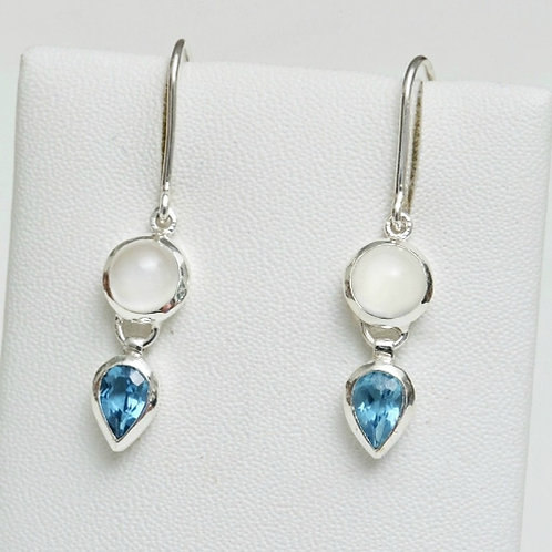 Blue Topaz & Moonstone Earrings