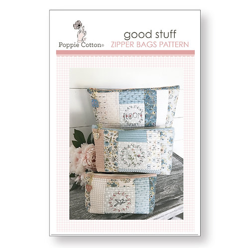 Good Stuff Zipper Bags Pattern featuring Wanderings Collection By Lori Woods for