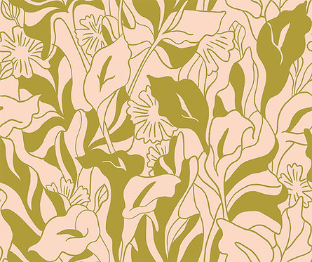 Lisbon Love   Callalily Green by Kasey Free From Paint Brush Fabrics