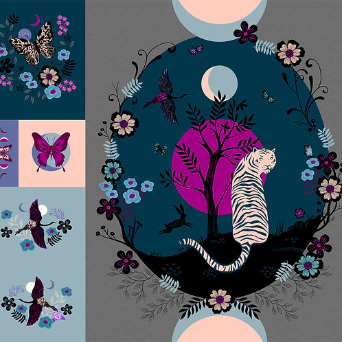 Tiger Fly Digital Quilt Panel by Sarah Watts