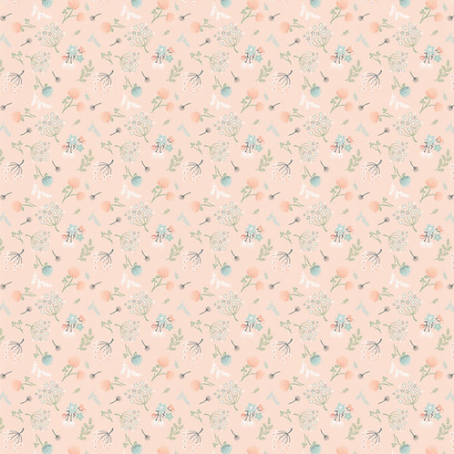 Woodland Songbirds Peach Woodland Floral by Sheri McCulley For Poppie Cotton