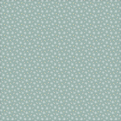 Woodland Songbirds Dandelion Fluffs Teal by Sheri McCulley For Poppie Cotton