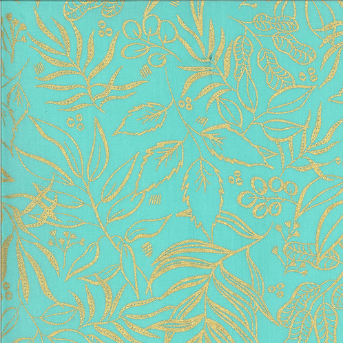 Moody Bloom | Metallic Jade  By Create Joy Project For Moda Fabrics