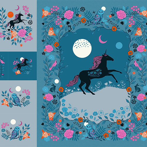 "Crescent 108"" Wide Digital Unicorn Quilt Panel By Ruby Star Society"