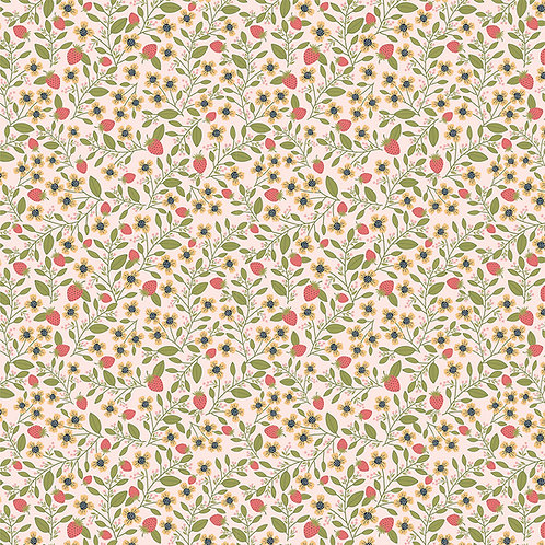 Daisy Mae - Berry Blossoms Pink by Lori Woods For Poppie Cotton Fabrics