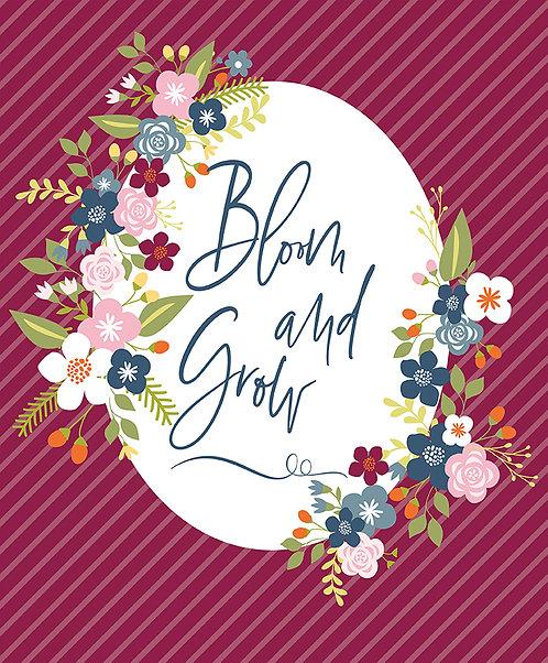 Bloom and Grow Panel Burgundy by Simple Simon and Company for Riley Blak