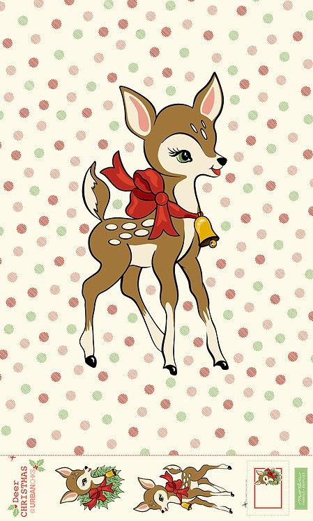 Deer Christmas Deer Appliqué Panel  Urban Chicks