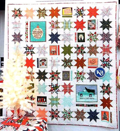 Season's Greetings Quilt Kit Featuring To Be Jolly by One Canoe Two