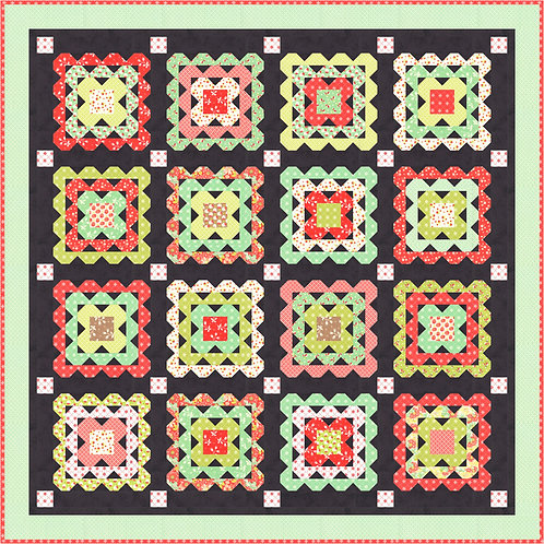 Crochet Charcoal Quilt Kit Featuring Scarlet Sage By Fig Tree
