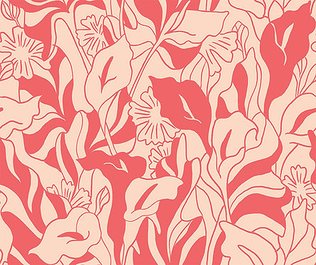 Lisbon Love | Callalily Blue by Pink Free From Paint Brush Fabrics