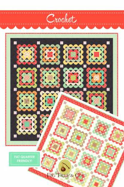 Crochet Charcoal Quilt Pattern Featuring Scarlet Sage By Fig Tree