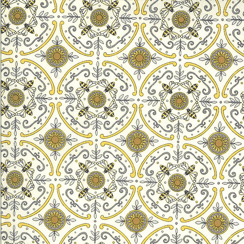 Bee Grateful | Dance Of The Honeybee Parchment by Deb Strain for Moda Fabric