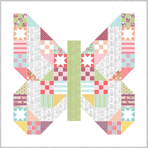 Butterfly Paches Quilt Kit Featuring Lollipop Garden By Lella Boutique
