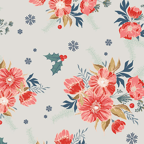 Cozy and Joyful Rose Frosted Roses By Maureen Cracknell for Art Gallery Fabrics