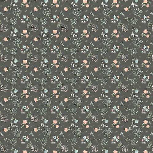 Woodland Songbirds Dark Grey Woodland Floral by Sheri McCulley For Poppie Cotton