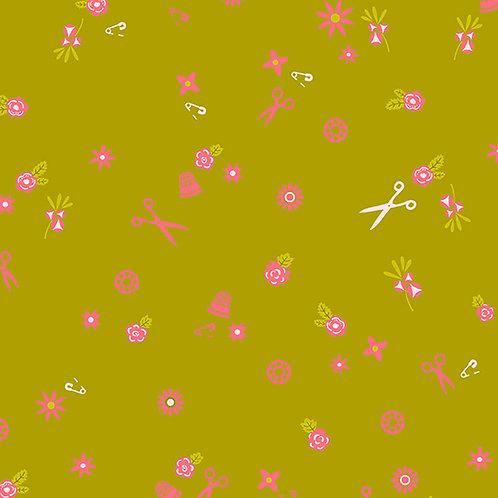 Handiwork Olive Sew Yardage by Alison Glass for Andover Fabrics