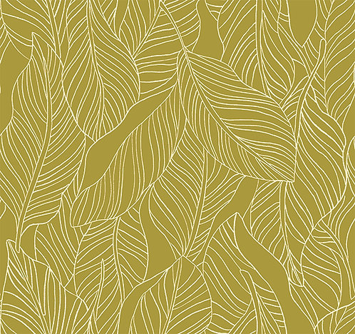 Lisbon Love | Leaves Green by Pink Free From Paint Brush Fabrics