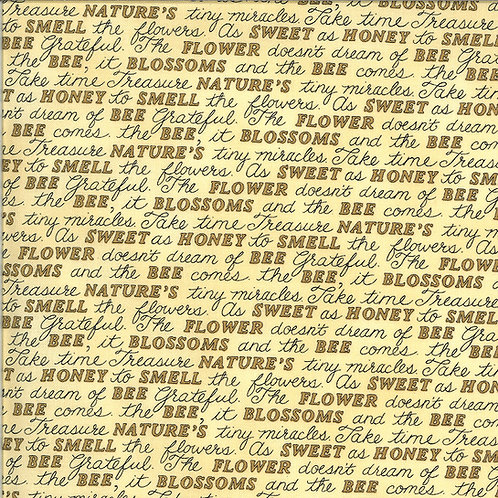Bee Grateful | Sweet Words Honey Yellow by Deb Strain for Moda Fabric