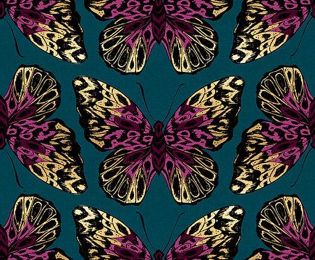 Tiger Fly Metallic Dark Teal By Sarah Watts