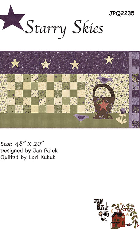 Starry Skies Quilt Pattern Featuring Clover Meadow Collection By Jan Patek