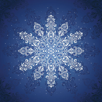 Snowflake Gradients Holiday Pre-Cut Quilt Panel Red/Blue
