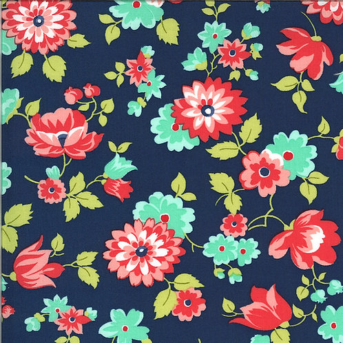 Shine On Blossom Navy by Bonnie and Camille for Moda Fabrics