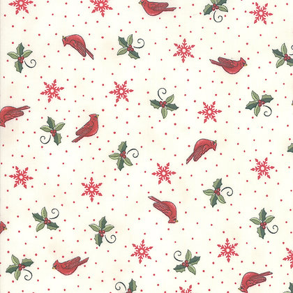 Homegrown Holiday Cardinals and Greenery White By Deb Strain for Mod