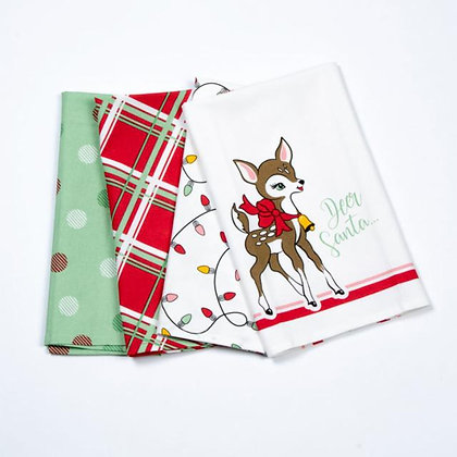 Deer Christmas Towels set of 4 by Urban Chiks for Moda Fabrics
