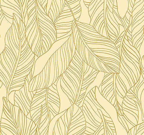 Lisbon Love | Leaves Gold by Pink Free From Paint Brush Fabrics