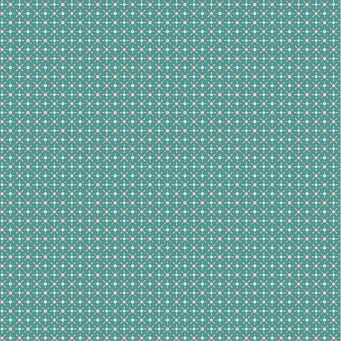 Cherished Moments Retro Mini Teal by Lori Woods For Poppie Cotton