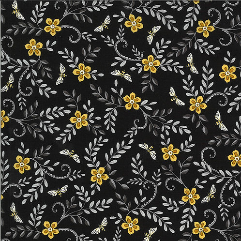 Bee Grateful | Flower Vines And Bees Ebony by Deb Strain for Moda
