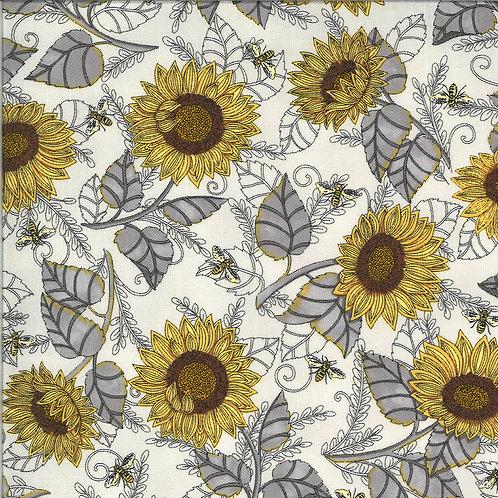 Bee Grateful | Sunflower Pebble Grey by Deb Strain for Moda Fabric