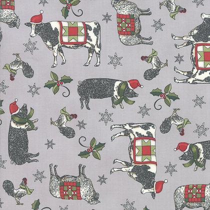 Homegrown Holiday Farmyard Holiday Grey By Deb Strain for Moda F