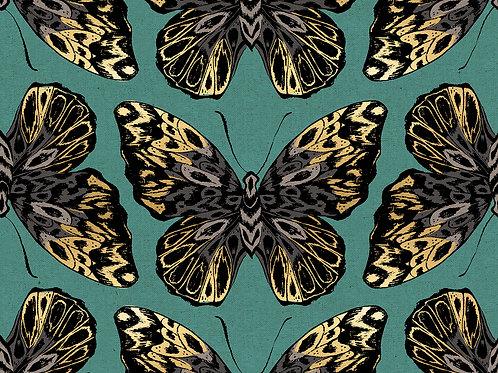 Tiger Fly Metallic Dark Aqua By Sarah Watts