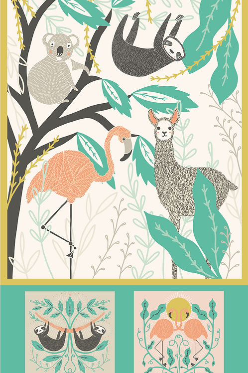 "Zoology Cotton Panel 36"" x 58"" Multi-panel by Gingiber For Moda Fabrics"