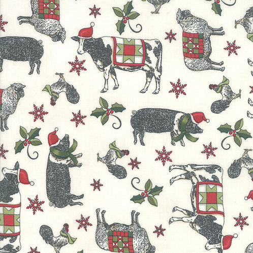Homegrown Holiday Farmyard Holiday White By Deb Strain for Mod