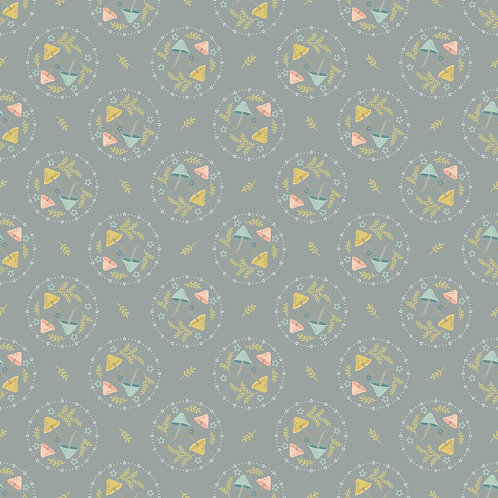 Woodland Songbirds Mushroom Toss Grey by Sheri McCulley For Poppie Cotton