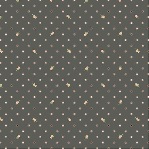 Woodland Songbirds Berry Dot Charcoal by Lori Woods For Poppie Cotton
