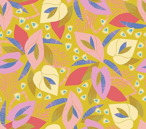 Lisbon Love | Follow The Sun Green by Pink Free From Paint Brush Fabrics