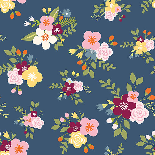 Bloom and Grow Main Navy by Simple Simon and Company for Riley Blake