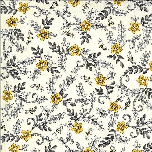 Bee Grateful | Flower Vines And Bees Parchment by Deb Strain for Moda