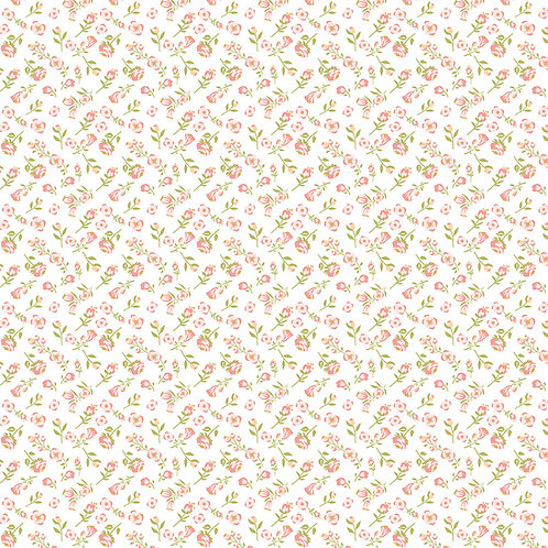 Daisy Mae - Mini Mae white by Lori Woods For Poppie Cotton Fabrics