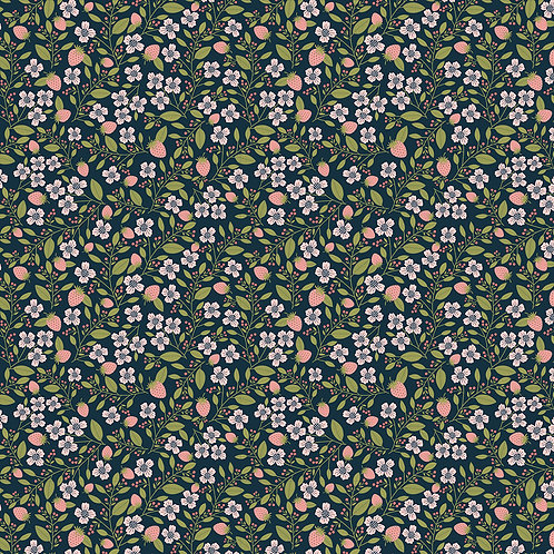 Daisy Mae - Berry Blossoms Navy by Lori Woods For Poppie Cotton Fabrics